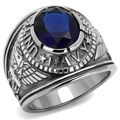 TK414707 - High polished (no plating) Stainless Steel Ring with Synthetic Synthetic Glass in Sapphire