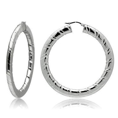 TK415 - High polished (no plating) Stainless Steel Earrings with No Stone