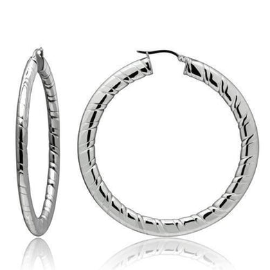 TK418 - High polished (no plating) Stainless Steel Earrings with No Stone