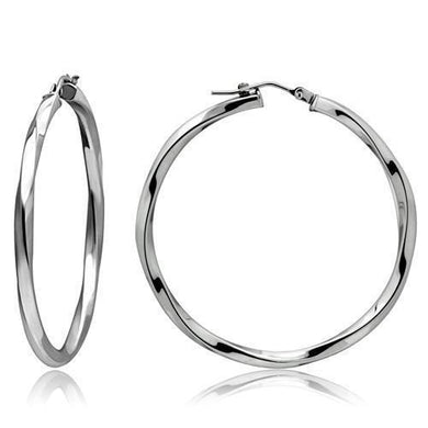TK420 - High polished (no plating) Stainless Steel Earrings with No Stone