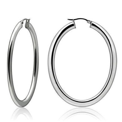 TK423 - High polished (no plating) Stainless Steel Earrings with No Stone