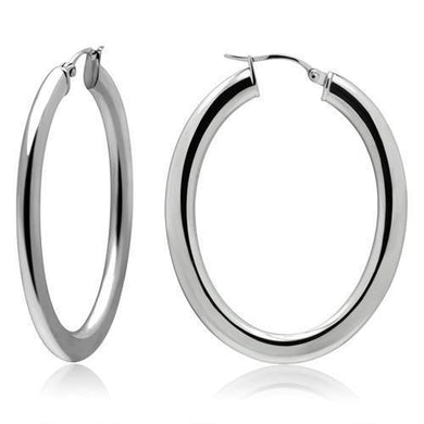 TK426 - High polished (no plating) Stainless Steel Earrings with No Stone