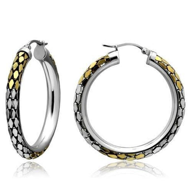 TK430 - Gold+Rhodium Stainless Steel Earrings with No Stone
