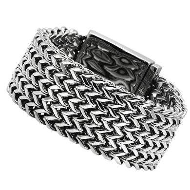 TK451 - High polished (no plating) Stainless Steel Bracelet with No Stone