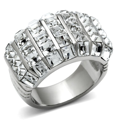 TK490 - High polished (no plating) Stainless Steel Ring with Top Grade Crystal  in Clear