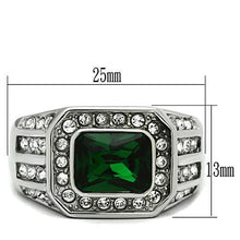 Load image into Gallery viewer, TK495 - High polished (no plating) Stainless Steel Ring with Synthetic Synthetic Glass in Emerald