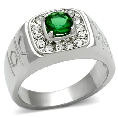 TK496 - High polished (no plating) Stainless Steel Ring with Synthetic Synthetic Glass in Emerald
