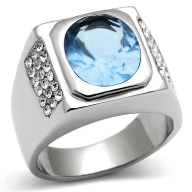 TK500 - High polished (no plating) Stainless Steel Ring with Synthetic Synthetic Glass in Light Sapphire