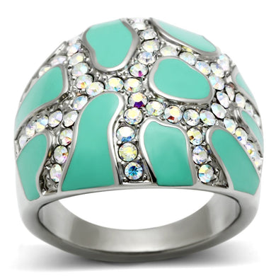 TK507 - High polished (no plating) Stainless Steel Ring with Top Grade Crystal  in Aurora Borealis (Rainbow Effect)
