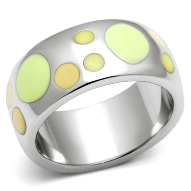 TK513 - High polished (no plating) Stainless Steel Ring with Epoxy  in Multi Color