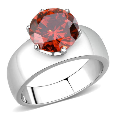 TK52001 - High polished (no plating) Stainless Steel Ring with AAA Grade CZ  in Garnet