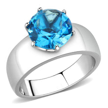 Load image into Gallery viewer, TK52003 - High polished (no plating) Stainless Steel Ring with Synthetic Synthetic Glass in Sea Blue