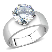 Load image into Gallery viewer, TK52004 - High polished (no plating) Stainless Steel Ring with AAA Grade CZ  in Clear