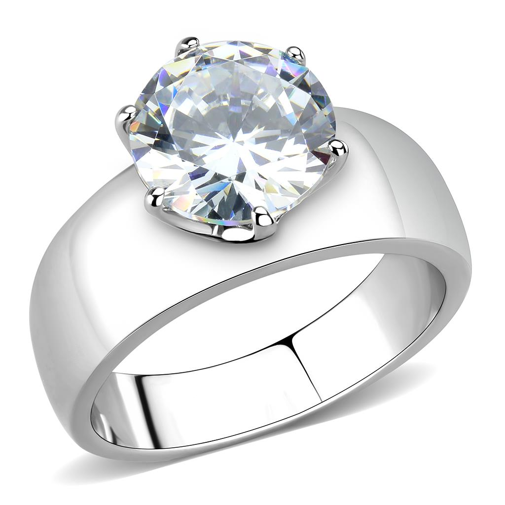 TK52004 - High polished (no plating) Stainless Steel Ring with AAA Grade CZ  in Clear
