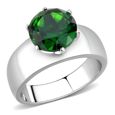 TK52005 - High polished (no plating) Stainless Steel Ring with Synthetic Synthetic Glass in Emerald
