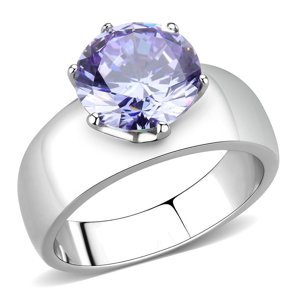 TK52006 - High polished (no plating) Stainless Steel Ring with AAA Grade CZ  in Light Amethyst