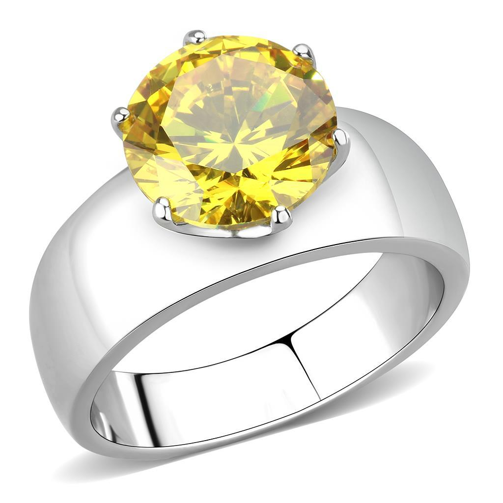 TK52011 - High polished (no plating) Stainless Steel Ring with AAA Grade CZ  in Topaz