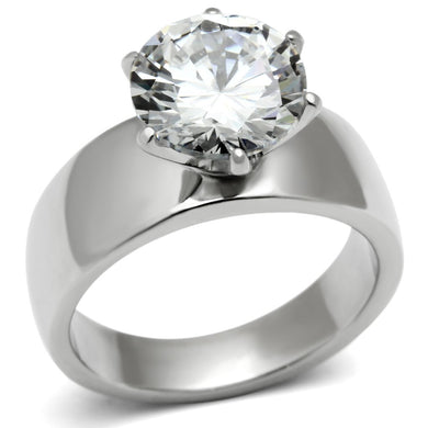 TK520 - High polished (no plating) Stainless Steel Ring with AAA Grade CZ  in Clear
