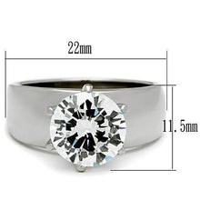 Load image into Gallery viewer, TK520 - High polished (no plating) Stainless Steel Ring with AAA Grade CZ  in Clear