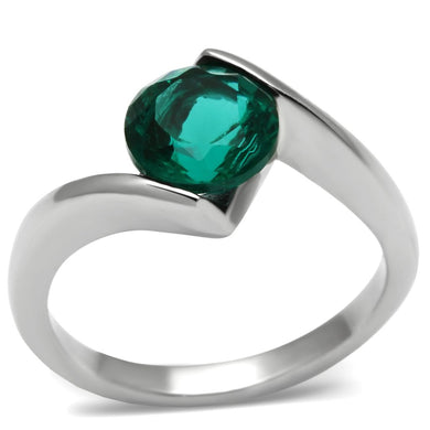 TK523 - High polished (no plating) Stainless Steel Ring with Synthetic Synthetic Glass in Blue Zircon