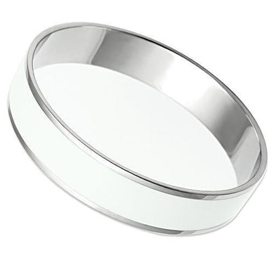 TK532 - High polished (no plating) Stainless Steel Bangle with Epoxy  in White