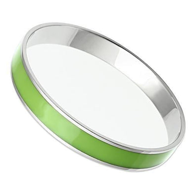 TK535 - High polished (no plating) Stainless Steel Bangle with Epoxy  in Emerald