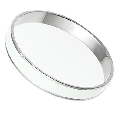TK536 - High polished (no plating) Stainless Steel Bangle with Epoxy  in White