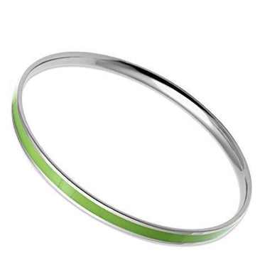TK539 - High polished (no plating) Stainless Steel Bangle with Epoxy  in Emerald