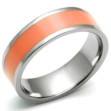 TK544 - High polished (no plating) Stainless Steel Ring with Epoxy  in Orange