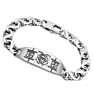 TK574 - High polished (no plating) Stainless Steel Bracelet with AAA Grade CZ  in Clear
