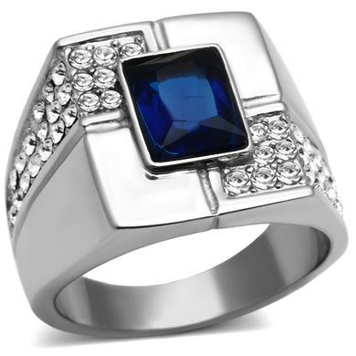 TK587 - High polished (no plating) Stainless Steel Ring with Synthetic Synthetic Glass in Montana
