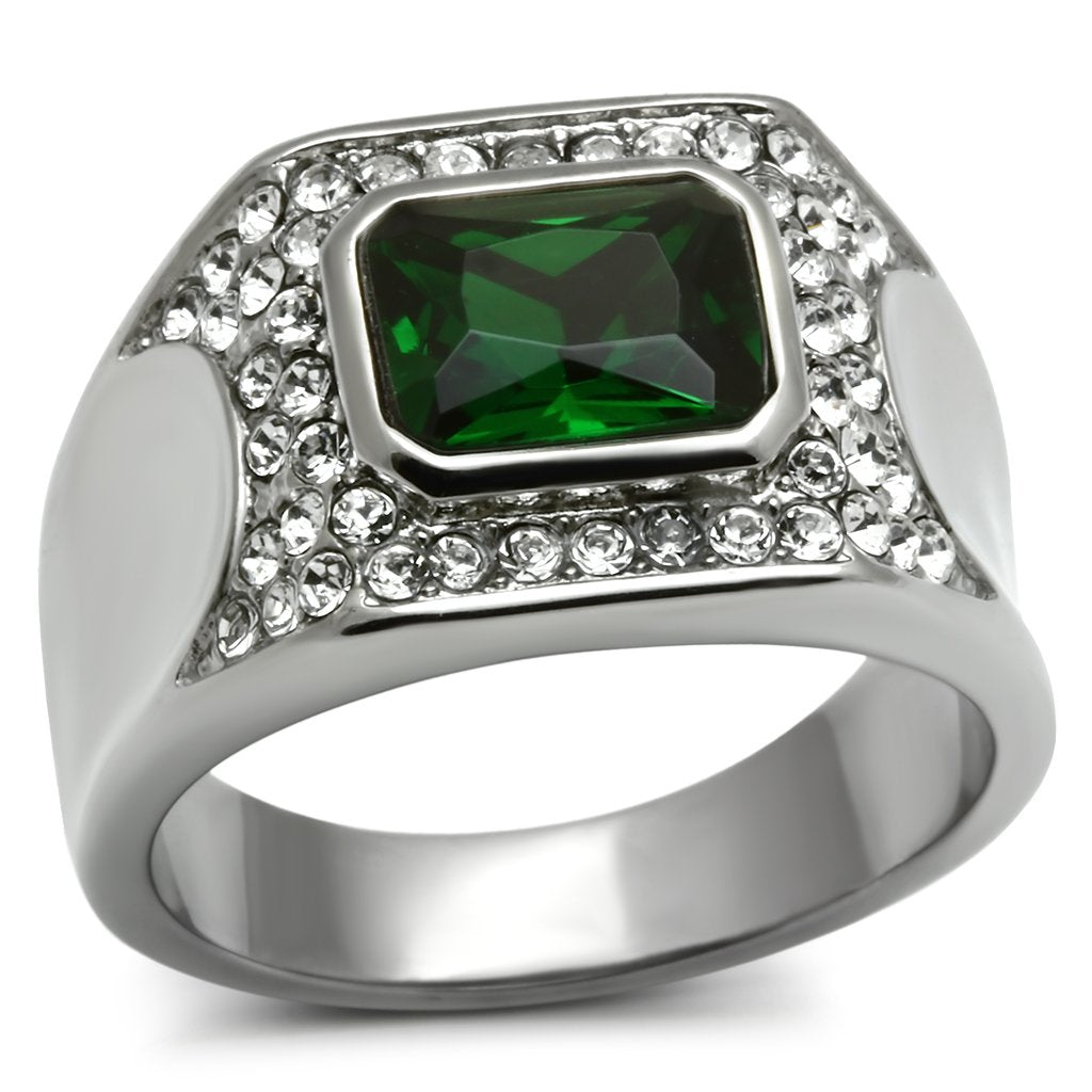 TK590 - High polished (no plating) Stainless Steel Ring with Synthetic Synthetic Glass in Emerald