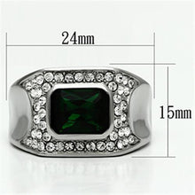 Load image into Gallery viewer, TK590 - High polished (no plating) Stainless Steel Ring with Synthetic Synthetic Glass in Emerald