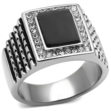 TK592 - High polished (no plating) Stainless Steel Ring with Synthetic Synthetic Stone in Jet