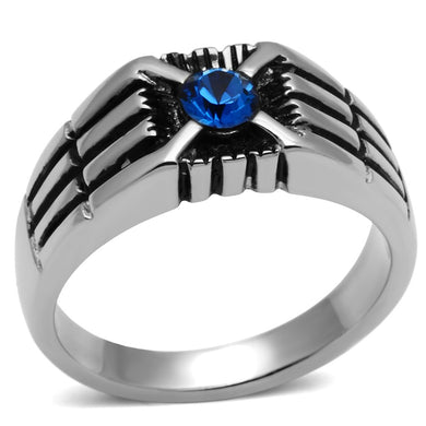 TK598 High polished (no plating) Stainless Steel Ring with Top Grade Crystal in Capri Blue