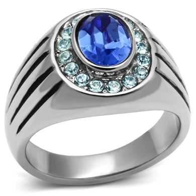 TK601 - High polished (no plating) Stainless Steel Ring with Top Grade Crystal  in Sapphire