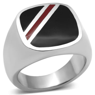 TK602 - High polished (no plating) Stainless Steel Ring with Epoxy  in Multi Color