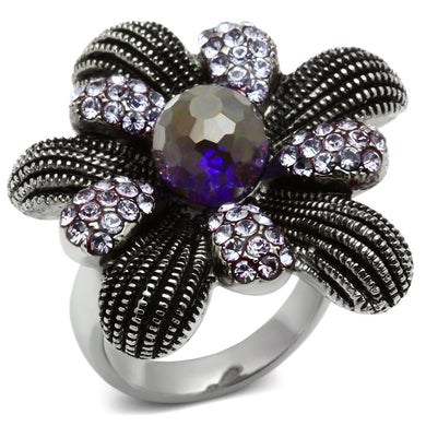 TK607 - High polished (no plating) Stainless Steel Ring with Synthetic Synthetic Glass in Amethyst