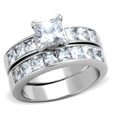 TK61206 - High polished (no plating) Stainless Steel Ring with AAA Grade CZ  in Clear