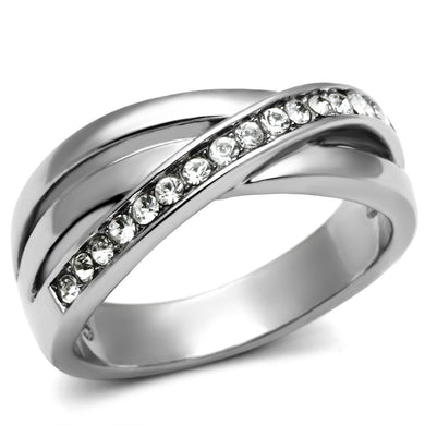 TK626 - High polished (no plating) Stainless Steel Ring with Top Grade Crystal  in Clear