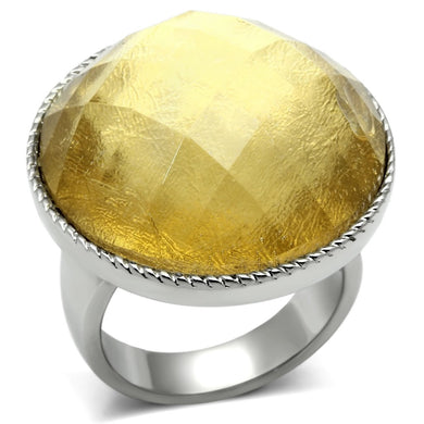 TK638 - High polished (no plating) Stainless Steel Ring with Synthetic Synthetic Stone in Topaz