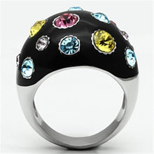 Load image into Gallery viewer, TK640 - High polished (no plating) Stainless Steel Ring with Top Grade Crystal  in Multi Color