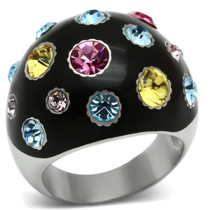 TK640 - High polished (no plating) Stainless Steel Ring with Top Grade Crystal  in Multi Color