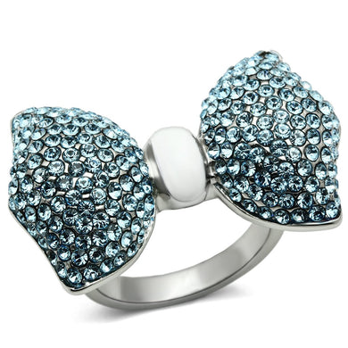 TK653 - High polished (no plating) Stainless Steel Ring with Top Grade Crystal  in Sea Blue