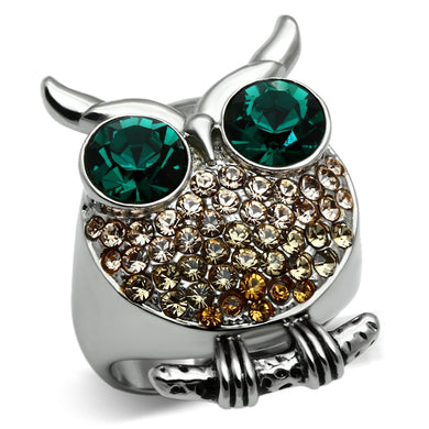 TK656 - High polished (no plating) Stainless Steel Ring with Top Grade Crystal  in Emerald