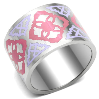 TK676 - High polished (no plating) Stainless Steel Ring with Epoxy  in Multi Color