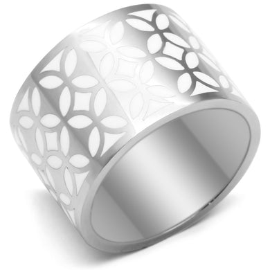TK677 - High polished (no plating) Stainless Steel Ring with Epoxy  in White