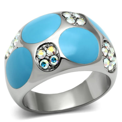 TK687 - High polished (no plating) Stainless Steel Ring with Top Grade Crystal  in Aurora Borealis (Rainbow Effect)