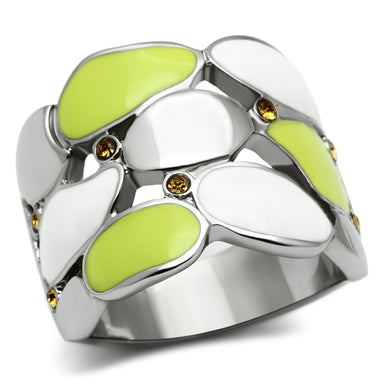 TK693 - High polished (no plating) Stainless Steel Ring with Top Grade Crystal  in Topaz