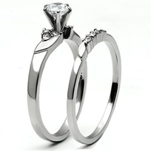 TK694 - High polished (no plating) Stainless Steel Ring with AAA Grade CZ  in Clear